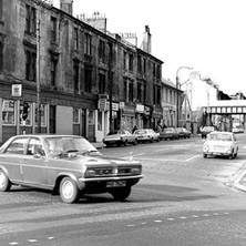 Looking up Kilbowie Road at the junction with Glasgow Road & Dumbarton Road. - Saturday 3rd March 1979