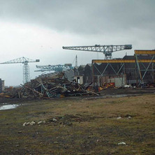 The yard being demolished.  Cable Depot Road.  -  24th March 2002