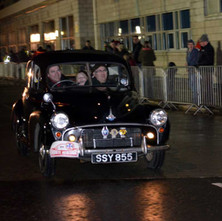 Monte Carlo Rally cars leaving Clydebank Clydeside - 29th January 2012