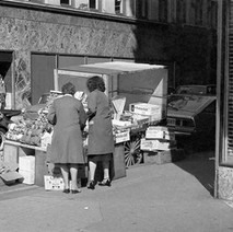 Fruit stall in one of the side streets on Argyle Street. - 1981