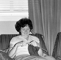 Helen doing a bit of knitting. All the ladies seemed to be knitting in those days, and now we have grandchildren, she is knitting again.  -  Low Crescent 1982