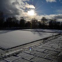 The bowling greens covered in snow, I was tempted to run all over them... - 29th January 2015