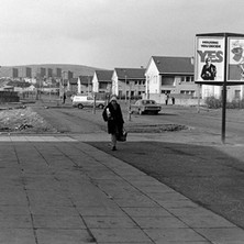My wife coming back from the shops. The signs have long gone, along with the Fleming Avenue shops. - Saturday 3rd March 1979