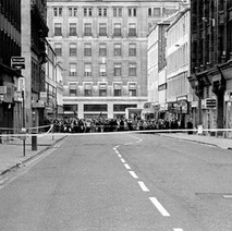 Bomb scare in Queen Street, you can see the suspect object in the bin on the bus stop. - 2nd July 1979