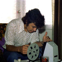 This is me editing an 8mm cine film in my living room. I started making cine film movies in 1975. All my cine films are now in the Scottish Screen Archives. - Dunedin Terrace, 13th August 1977