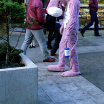 Pink Panther. Charity Workers dressed up raising money for Spina Bifida. - 3rd December 1982