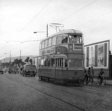 Photo of the last tram going through Clydebank on the 6th September 1962. It is a Coronation Mark 1 tram and it was the last ceremonial tram run from Dalmuir to Auchenshuggle. - 6th September 1962. Photo supplied by Rab Woods