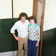 Helen and myself outside our first flat door at Dunedin Terrace.  7th June 1977
