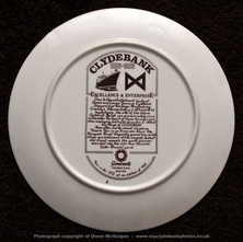 The back of the Commemorative plate celebrating Clydebank's 100th Anniversary as a Burgh.