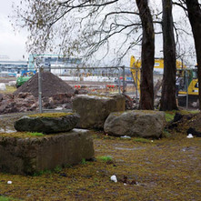 Large concrete blocks sitting in the car park of The Lucky Break Snooker Hall. - 6th March 2019