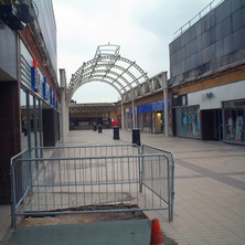 Steelwork for the new roof being erected at the Clyde Shopping Centre.  -  24th March 2002