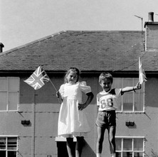 Jennifer and Michael, my children waving their flags.  -  Whitecrook 9th August 1986