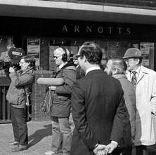 Camera crew at St Enoch underground. I don't know what they were filming at the time.. - Glasgow 1981