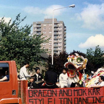 The Chinese Dancing float turning into Second Avenue. Clydebank Centenary Celebrations 1986 - photo by Wallace McIntyre