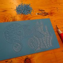 Lino cut in progress at the Dalmuir Park Art Class.  -  17th February 2015