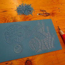 Lino cut in progress at the Dalmuir Park Art Class.  -  17th February 2015