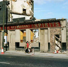 Connolly's Pub on Glasgow Road being demolished to make way for the Clydeside Expressway. In the mid sixties, I worked in the wee DIY shop just next to it on the right. - March 1980