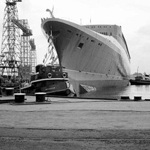 The QE2 keel was laid down on 5 July 1965, as hull number 736 in the same plot that had been used to build iconic liners such as Lusitania, Aquitania , Queen Mary and Queen Elizabeth. - John Brown Shipyard, Clydebank, 1967. Photo by William Duncan