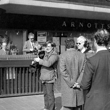 Camera crew at St Enoch underground. Arnotts store in the background. - Glasgow 1981