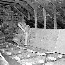 This is me starting to put down the floor of our first darkroom. 5th July 1978