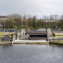 The Dalmuir Drop Lock, which takes boats under Dumbarton Road.  -  23rd March 2019