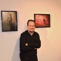 My friend, Will Wilson's Photography Exhibition in the Back Door Gallery, Dalmuir Library. Will loves taking photos at music concerts. - 23rd February 2017