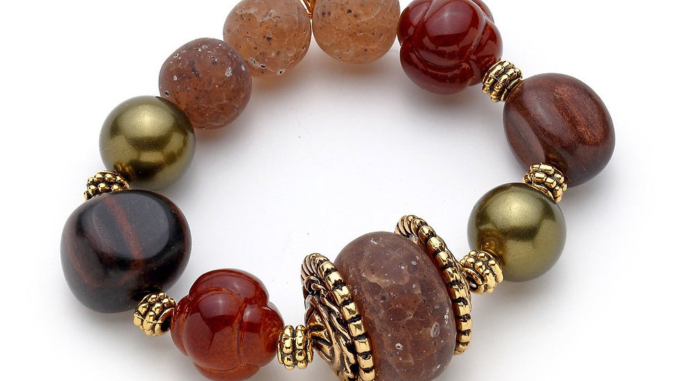 MonReve Miqa, Brown, Orange Stone single bracelet