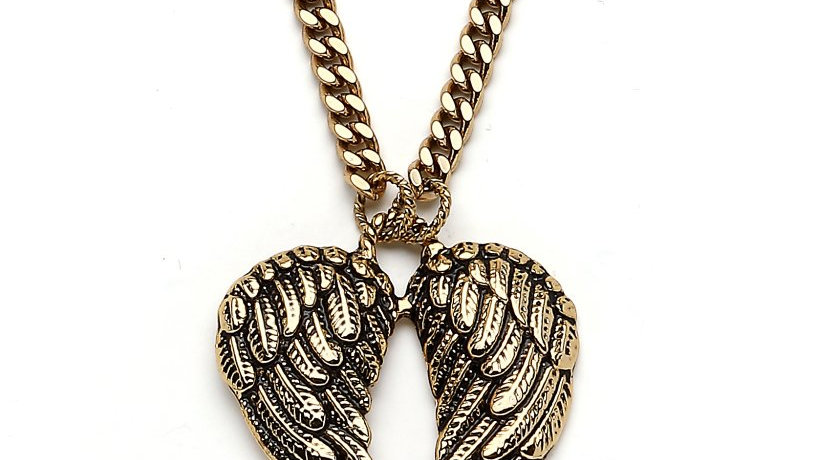 MnReve Long Gold Woven with and Angel Wing tip Necklace
