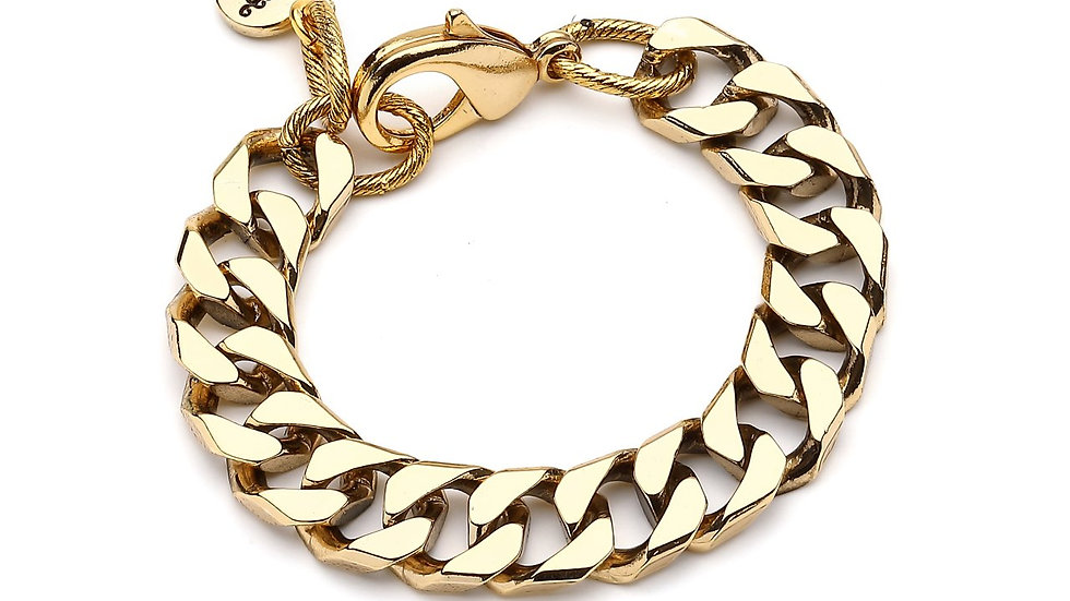 MonReve Gold Plated Thick Square Chain Bracelet