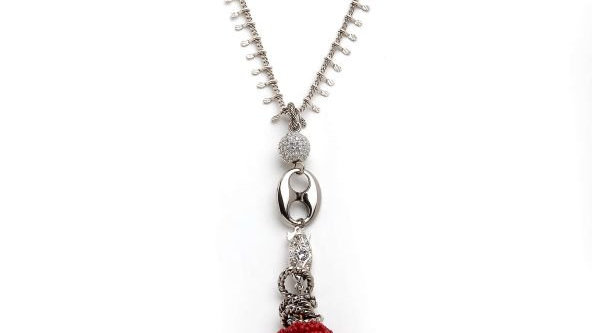 Red Beaded Tassel Chain with Crystals