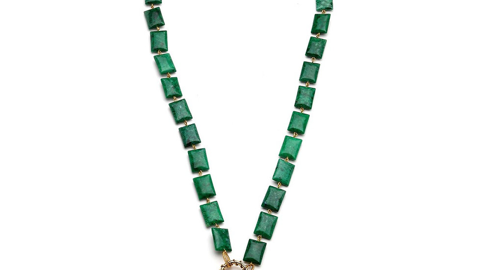 MonReve Green Stone with Silver Lock Pink Quartz Tasset Necklace