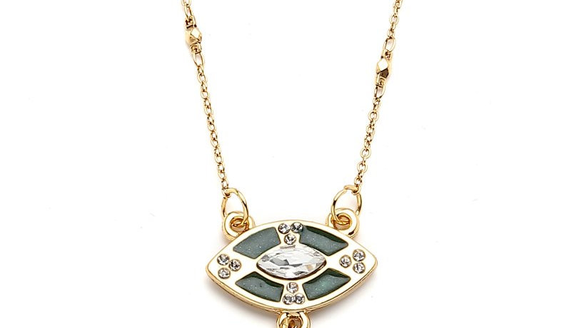 MonReve Thin Necklace with Green Eyeand Green Eros