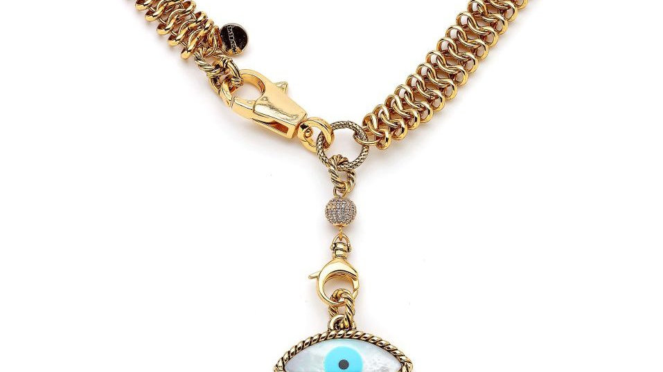 MonReve Brass Gold Plated EvilEye Necklace