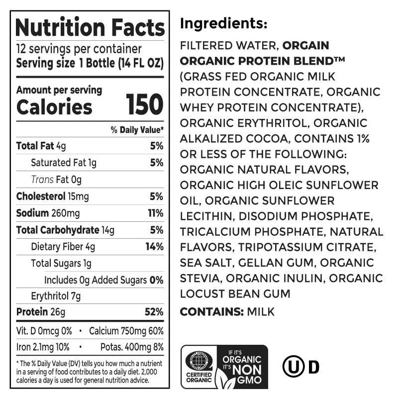 Orgain protein supplement nutrition facts