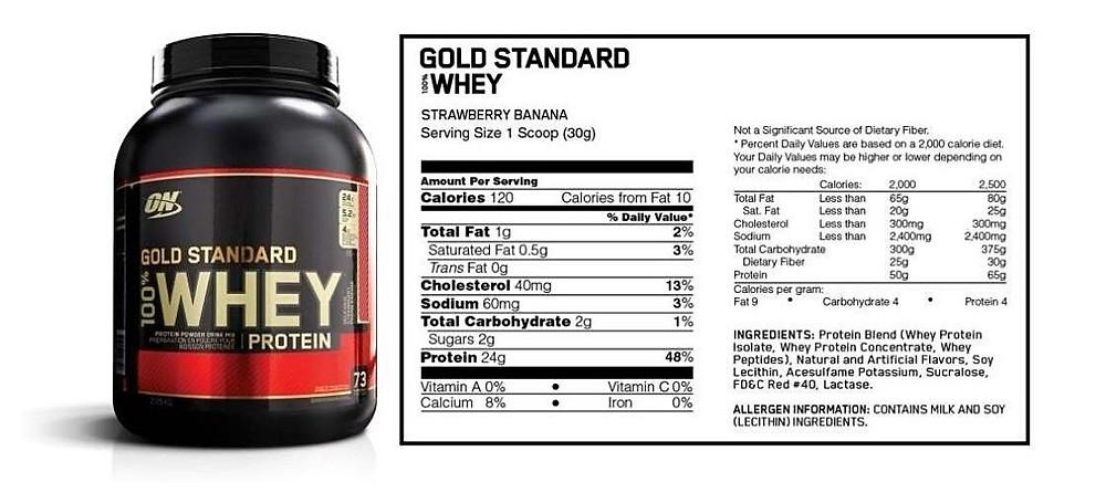 Optimum Nutrition gold standard whey protein ingredients
