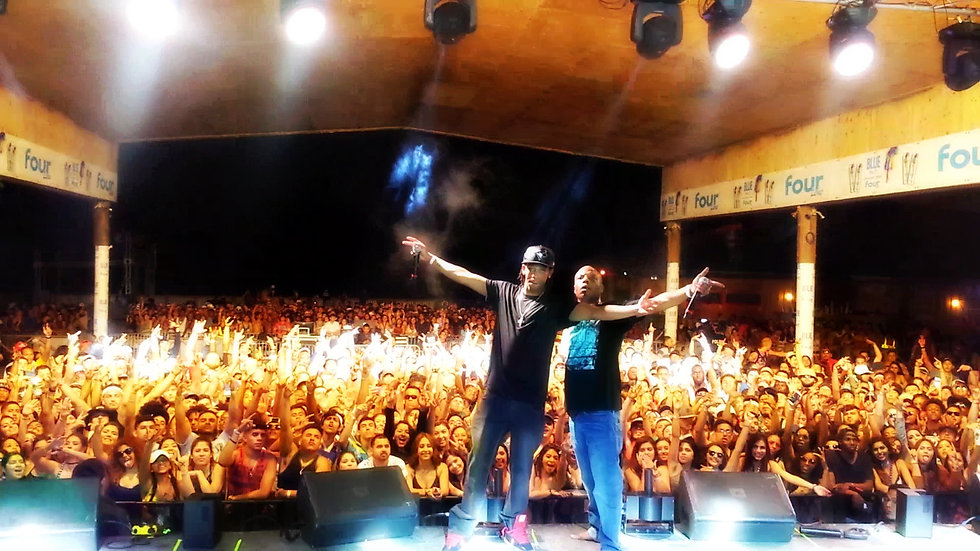 Tha Hot$hot & CB5 on Stage at Migos & Lil' Wayne's Spring Break Beach Bash on South Padre Island, Texas 2017