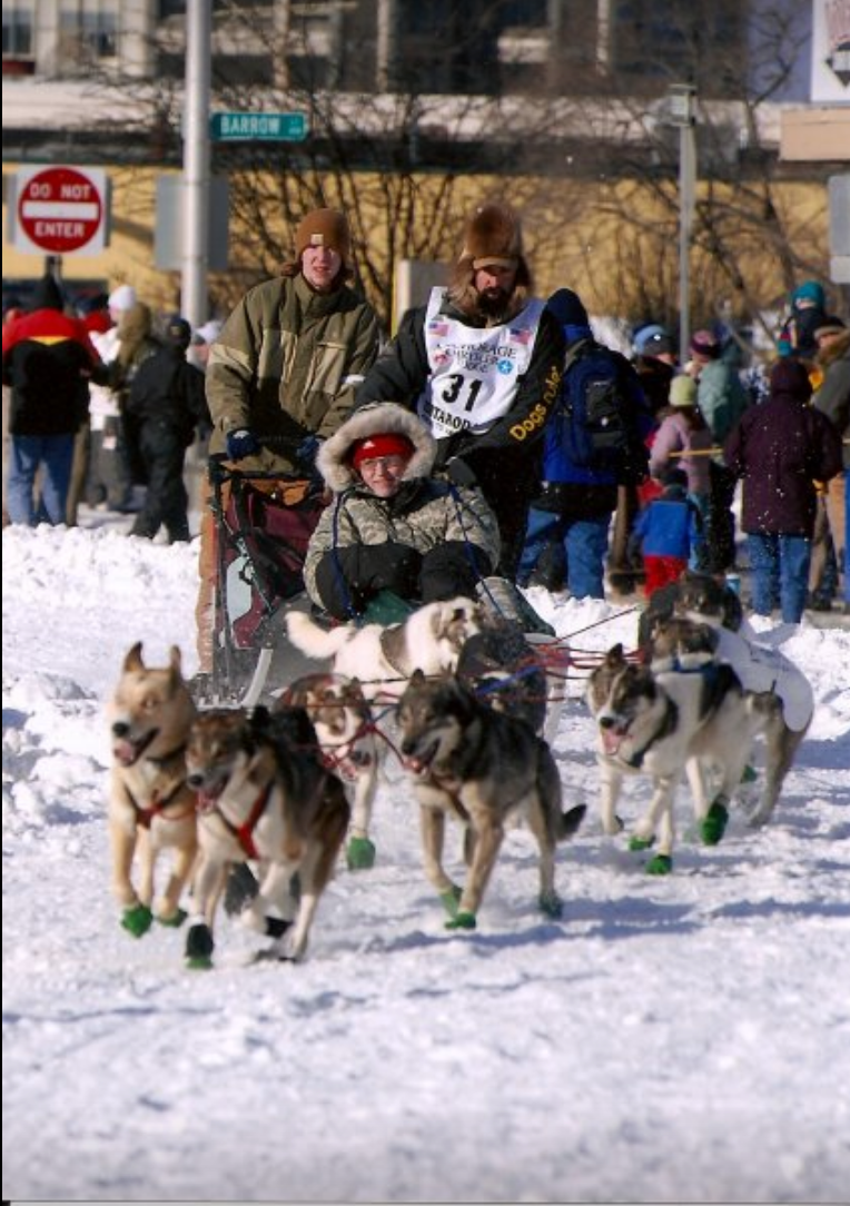 Driving tag sled during ceremonial start of 2007 Iditarod.