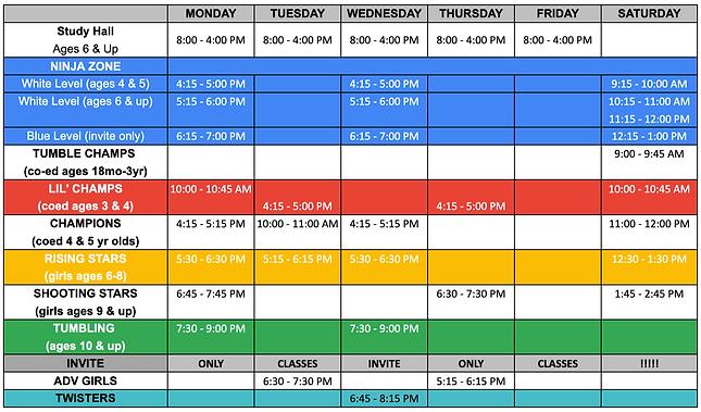 Fall 2020 Rec Schedule