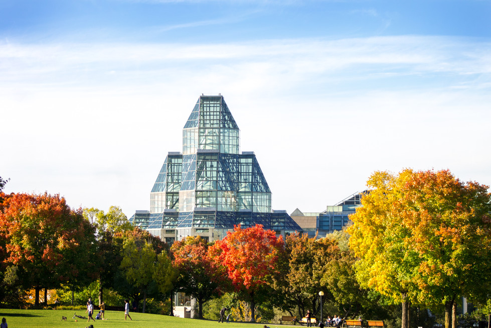 Fall time looking across Major's Hill Park. National Art Gallery in Ottawa, Ontario