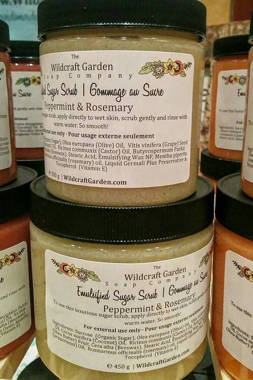 Mint and Rosemary Sugar Scrub - Made with Sugar and Natural Oils