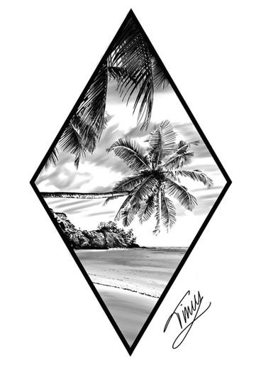 tropisch eiland tattoo design