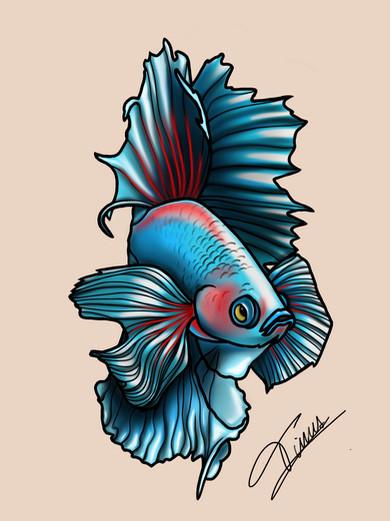 japanse vechtvis tattoo in kleur