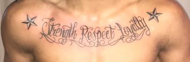 chest tattoo text