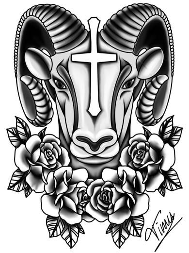 steenbok kruis en rozen tattoo