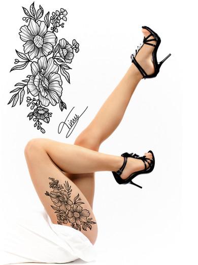 bloemen tattoo design voor bovenbeen