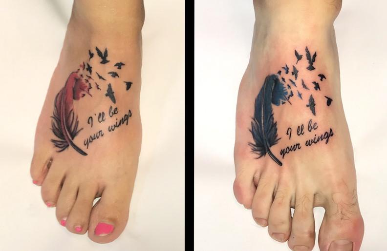 veren tattoo met vogels en tekst voor koppel
