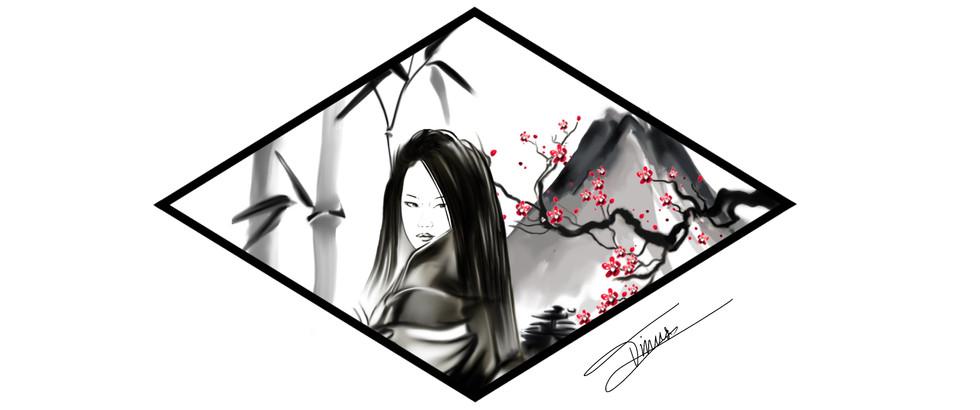 japanese geisha tattoo designd met kersenbloesem