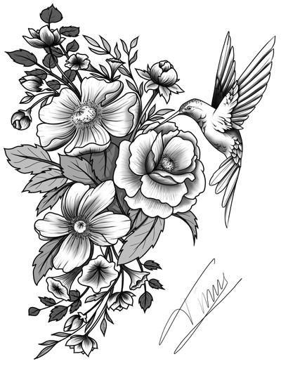 bloemen met vogel tattoo