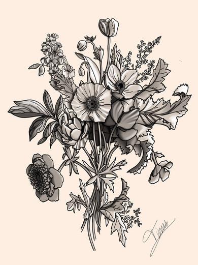 bloemen rug tattoo