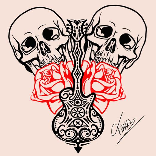 skulls rozen en gitaar in rood en zwart tattoo design